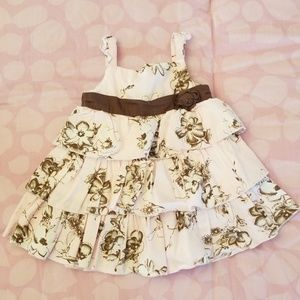 Baby girl pink & brown ruffle dress size 12 months